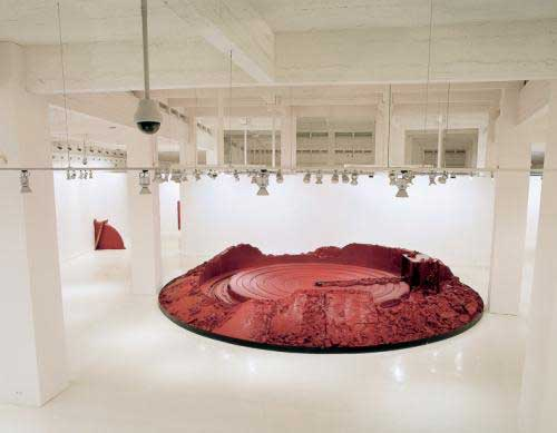 Anish Kapoor, 'My Red Homeland', 2003, vaseline colored red, wax, hydraulic engine, variable dimensions, installation view CAC Málaga (2006)