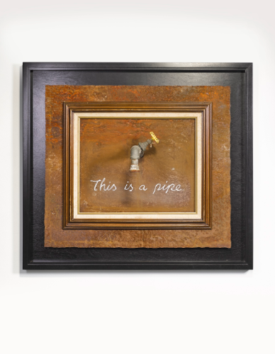 Banksy, 'This Is A Pipe,' 2001, paint, vintage frame and reclaimed metal, framed 87.6 by 99 cm