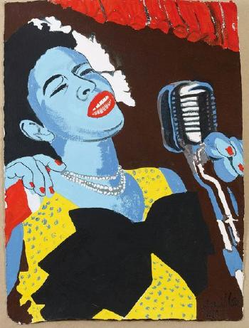 Bernard Rancillac (1931), 'Billie Holiday,' c. 1990, gouache and lead pencil on Auvergne paper, 73 x 55 cm