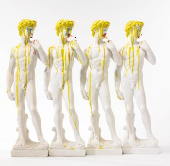 Bruce High Quality Foundation (established 2001), 'Four Little Daves,' 2011-12, enamel on plaster and cigarettes, 68,60 x 22,90 x 15,50 cm