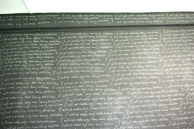 Camille Le Houezec, 'I will not make any more boring exhibition', 2009, performance, chalk on painted wall., 250 x 400 cm