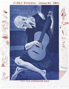 David Hockney (1937), 'The Old Guitarist, from The Blue Guitar,' 1976-77, etching with aquatint in colors, 42,9 x 34,6 cm