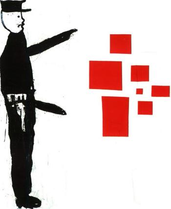Donald Baechler, 'Abstract painting with policeman', 1986, oil, cardboard and canvas collage on canvas, 190.50 x 190.50 cm