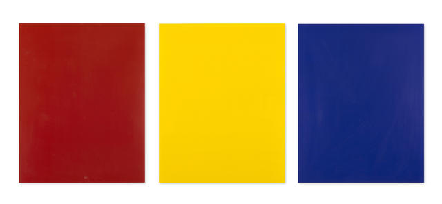 Ed Moses (born 1926), 'Study For Abstract Painting (Red) #4, 1977; Study For Abstract Painting (Yellow) #5, 1977; Study For Abstract Painting (Blue) #6', acrylic on acetate, 1977, each 42.2 x 33.6 cm
