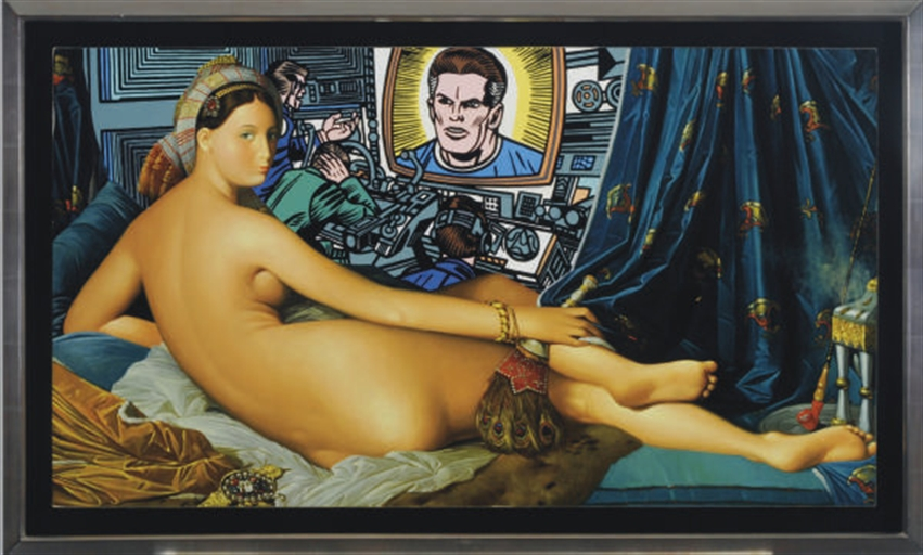 Erró (b 1932), 'After Ingres', 1975, oil on canvas, 55.9 x 99 cm