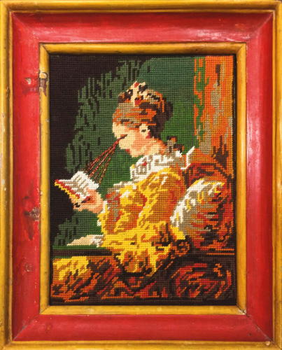 Francesco Vezzoli (1971), 'The Crying Reader (After Jean-Honoré Fragonard),' 2015, cotton and metallic embroidery on canvas in XVIII century frame, 29.8 x 21.9 cm