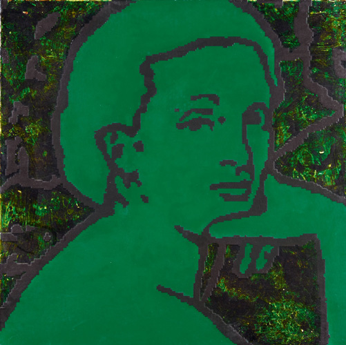 George Pusenkoff (1953), 'Breakfast on the Grass Nr. 11 (Head Green on Green),' 1999, acrylic on canvas, 100 x 100 cm