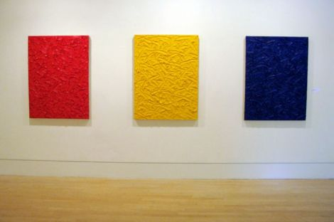 James Hayward, Red Yellow Blue Ratio Triptych 6, 2011-12, oil on canvas on mahogany panels, 44 x 33 inches, triptych