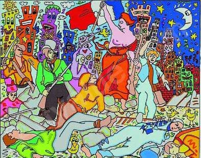 James Rizzi, 'Liberty leading the people,' 1998, lithp on handmade paper, 20,5 x 24,5 cm