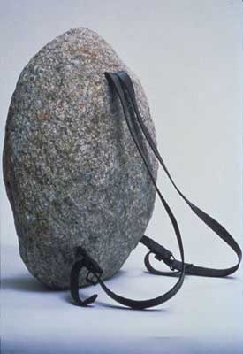 Jana Sterbak, 'Sisyphus Sport', 1997, stone, leather straps and metal buckles, 50 x 36 x 25 cm