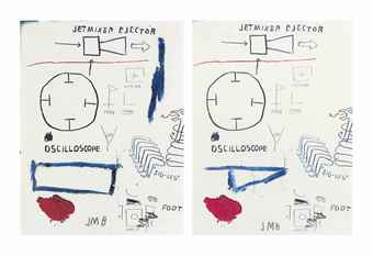 Jean Michel Basquiat (1960-1988), 'Untitled (Jet Mixer Ejector),' 1985, two elements--acrylic on colored Xerox, 27.9 x 21.6 cm