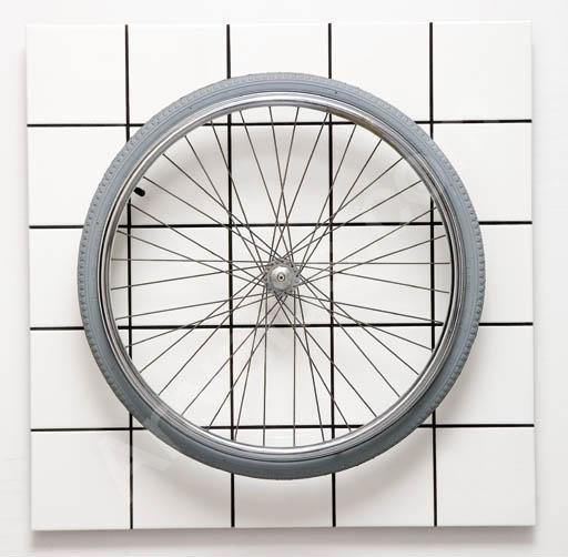 Jean-Pierre Raynaud (1939), 'Hommage à Duchamp,' 1993, Faience tiles on aluminum, wheel, 77 x 77 x 14,5 cm