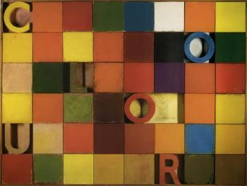 Joe Tilson, 'Colour chart,' 1969, oil on canvas and wood relief, 155 x 206 cm