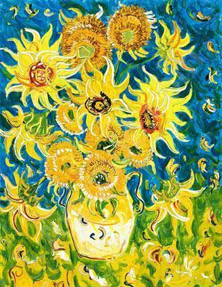 John de Burgh Perceval, 'Sunflowers for Vincent,' 1994, oil on canvas, 120 x 90 cm