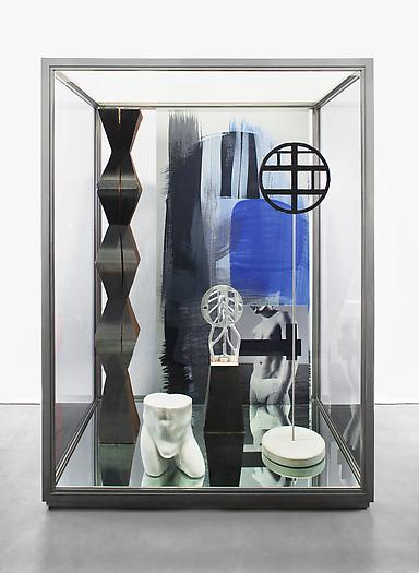 Josephine Meckseper , 'Las Meninas (2Xist),' 2013, pigment prints on anodize aluminum, acrylic on wood, concrete, aluminum, bronze, and stainless steel in stainless steel and glass vitrine, 247.65 x 182.88 x 121.92 cm
