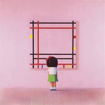 Liu Ye (1964), 'Boogie Woogie, Little Girl in New York,' 2005-2006, oil on canvas, 210 x 210 cm