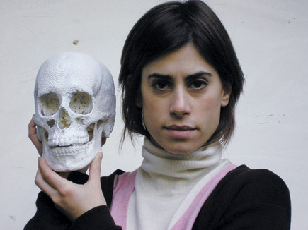 Maja DHollosy, Jill Magid with a 3D scan of her skull, 2009