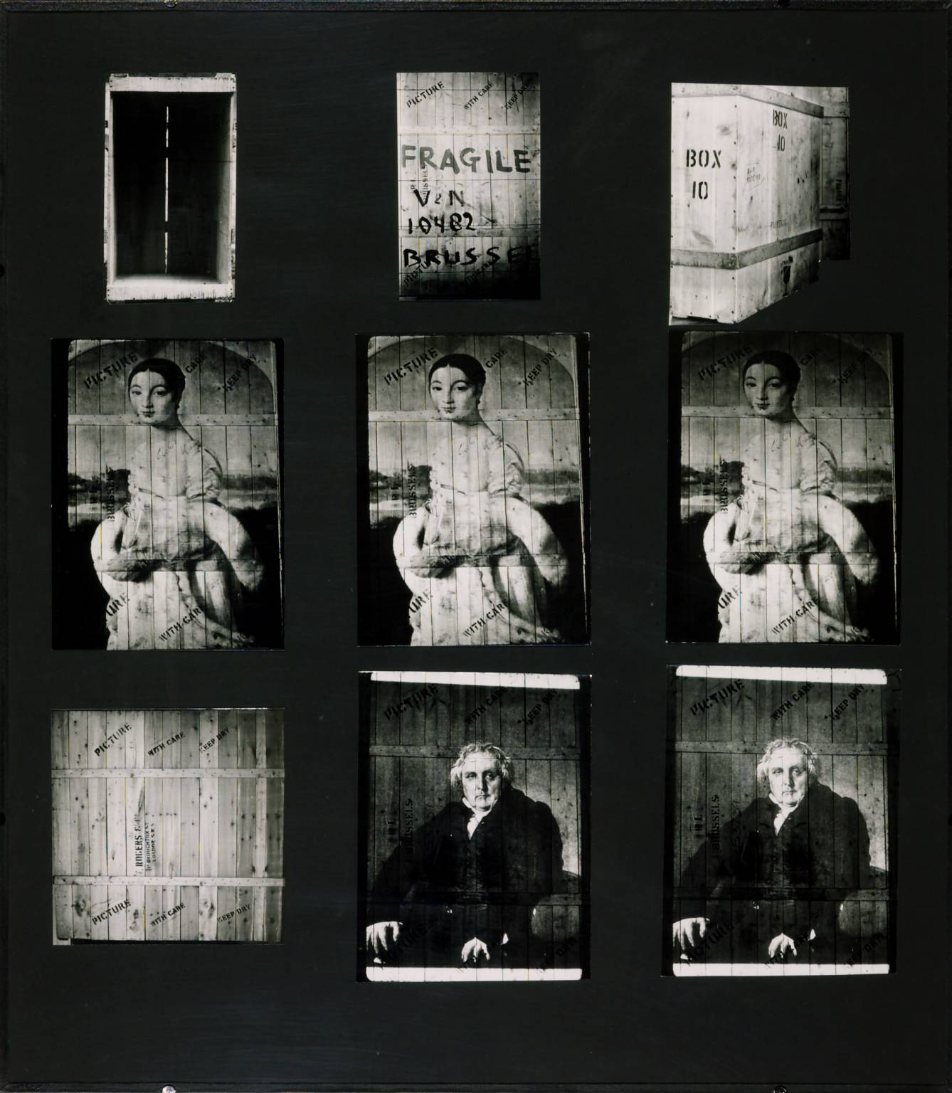 Marcel Broodthaers (1924-1976), 'Mademoiselle Rivière and Monsieur Bertin, 1975, 9 photographs, black and white, on paper on board, 101 x 90,5 x 5,7 cm