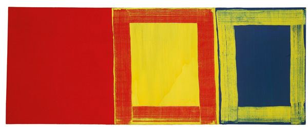 Mary Heilmann (1940), 'The first red yellow and blue', 1975, oil on canvas, 70 x 179.1 cm