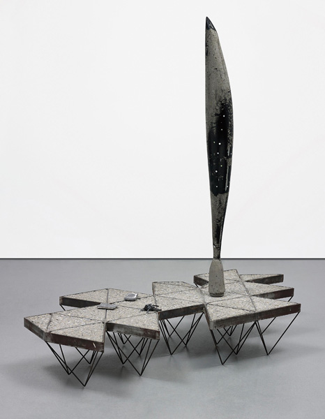 Matthew Day Jackson (1974), 'Dymaxion Map Monument,' 2009, concrete, welded steel, mother of pearl, steel casts, 190 x 178 x 86.5 cm