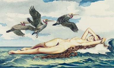 Mel Ramos (1935), 'The Birth of Venus', 1975, watercolor on paper, 33,7 x 56,5 cm