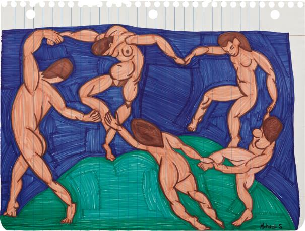 Michael Scoggins, 'The Dancers (after Matisse),' 2011, marker and prismacolor on paper, 141.9 x 171.1 cm