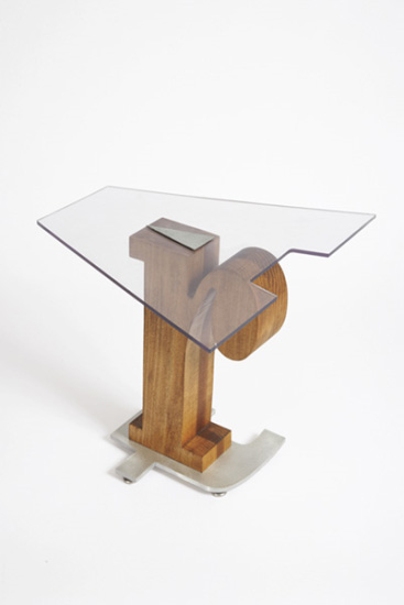 Nancy Dwyer, 'ART Table 2', 1993, table in Plexiglas, aluminum and wood,, 50.8 x 41.9 x 38.1 cm