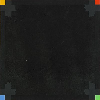 Nils Kölare, 'Black Square with yellow, red, blue and green corner squares,' 2004, acrylic on board, 40 x 40 cm