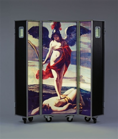 Patrick Raynaud (1946), 'Allegorie des Sieges,' c. 1991-1992, flight case on wheels with wood, aluminium, fluorescent tube and Cibachrome, 166 x 60 x 62 cm