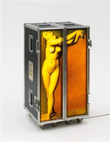 Patrick Raynaud (1946), 'Ohne Titel (Ingres Travel Angelique),' c. 1990, flight case on wheels with wood, aluminium, fluorescent tube and Cibachrome, 94 x 48 x 41 cm