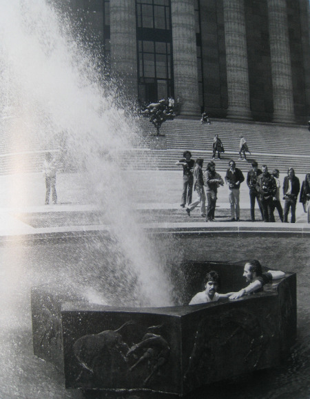 Rafael Ferrer, 'Deflected fountain, for Marcel Duchamp', 1970. Performance, sitting in a fountain in front of the Philadelphia Museum of Art
