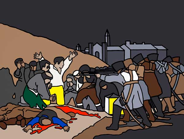 Robert Ballagh (1943), 'The Third Of May After Goya,' 1970, acrylic on canvas, 100 x 135 cm