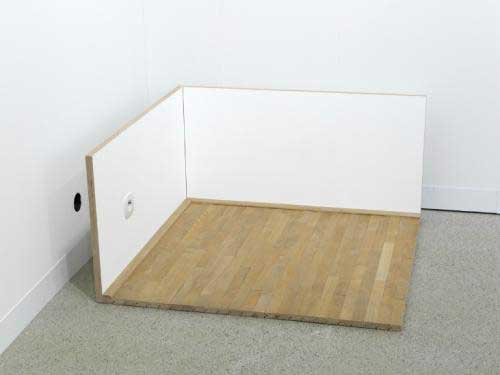 Roman Ondàk, 'Untitled (Corner)', 1997, section of parquet flooring, wooden panels, paint, electric socket, 110 x 112 x 52 cm