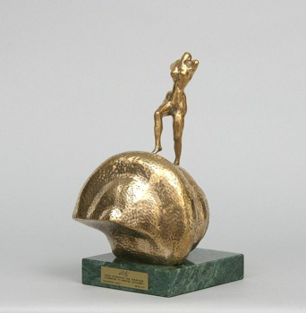 Salvador Dalí (1934-1982), 'Nude Ascending a Staircase - Hommage to Marcel Duchamp,' c.1975, polished bronze on a marble base, 16 x 9,5 cm