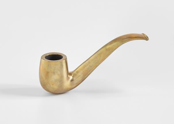 Sherrie Levine (1947), 'Une Pipe,' 2001, cast copper alloy, 4.4 x 2.5 x 13.3 cm