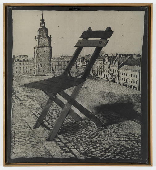 Tadeusz Kantor, Monument of a Chair on the Cracow Main Square (from the series Impossible Architecture Projects), 1970. Photomontage on canvas, 104 x 95 cm
