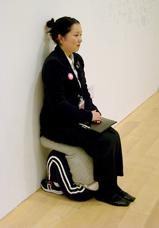 Taiyo Kimura, 'Untitled (stool for guard)', 2007, mixed media, clothes, CDplayer, speaker, 40 x 40 x 50 cm